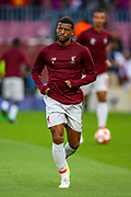 Liverpool midfielder Georginio Wijnaldum (5) warms up ahead of the Champions League semi-final leg 1 of 2 match between Barcelona and Liverpool at Camp Nou, Barcelona, Spain on 1 May 2019.