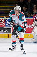 KELOWNA, CANADA - APRIL 25: Mitchell Wheaton #6 of the Kelowna Rockets skates against the Portland Winterhawks on April 25, 2014 during Game 5 of the third round of WHL Playoffs at Prospera Place in Kelowna, British Columbia, Canada. The Portland Winterhawks won 7 - 3 and took the Western Conference Championship for the fourth year in a row earning them a place in the WHL final.  (Photo by Marissa Baecker/Getty Images)  *** Local Caption *** Mitchell Wheaton;