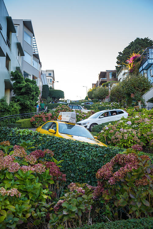 Cars descending Lombard Street, San Francisco.