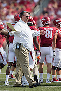 FAYETTEVILLE, AR - SEPTEMBER 5:  Head Coach Bret Bielema of the Arkansas Razorbacks talks with a official during a game against the UTEP Miners at Razorback Stadium on September 5, 2015 in Fayetteville, Arkansas.  The Razorbacks defeated the Miners 48-13.  (Photo by Wesley Hitt/Getty Images) *** Local Caption *** Bret Bielema