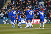 Gillingham celebrate their equaliser after  forward Cody MacDonald scores (1-1) during the Sky Bet League 1 match between Gillingham and Shrewsbury Town at the MEMS Priestfield Stadium, Gillingham, England on 23 April 2016. Photo by Martin Cole.