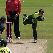 Satida Shah bowling for Pakistan during the match between New Zealand and Pakistan in the Super 6 stage of the ICC Women's World Cup Cricket tournament at Drummoyne Oval, Sydney, Australia on March 19, 2009. New Zealand won the match by 223 runs. Photo Tim Clayton
