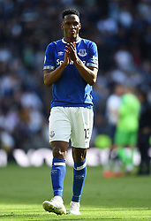 Everton's Yerry Mina applauds the away fans at full time
