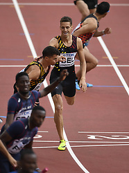 August 12, 2017 - London, England - LONDON , UNITED KINGDOM  - AUGUST 12 :  Dylan and Jonathan of Belgian team relay pictured during 4X400 M  heat 1 at the16th IAAF World Athletics championships from august 4 till 13, 2017 in London ,United Kingdom, 12/08/2017. (Credit Image: © Panoramic via ZUMA Press)