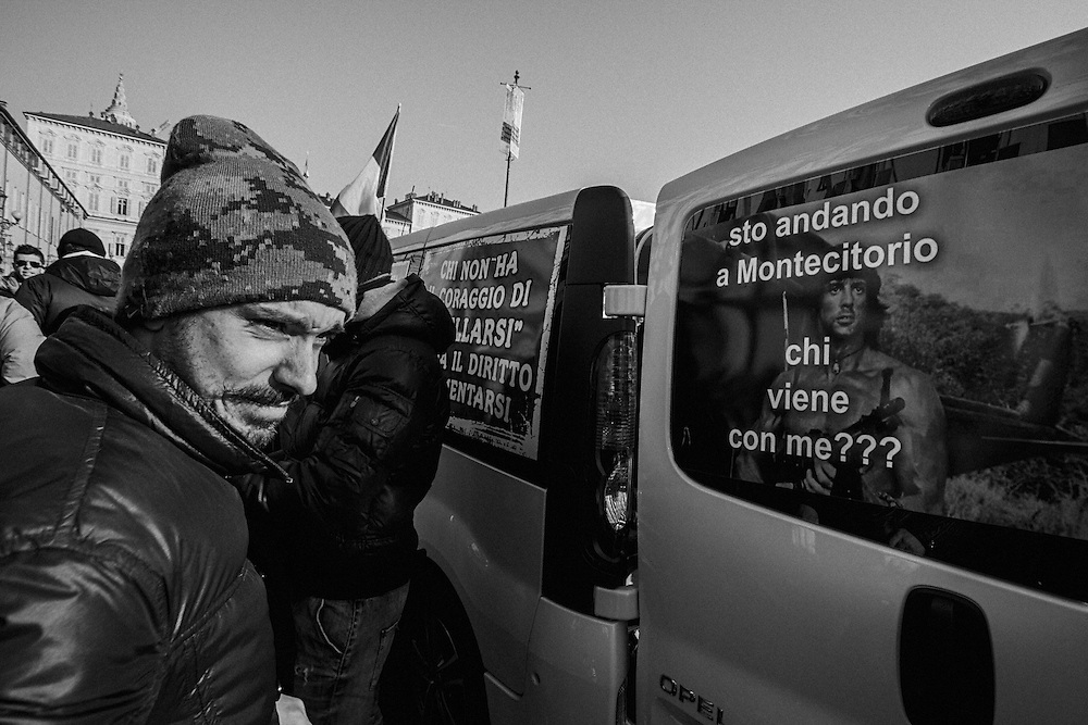 """Turin, 2013/12/11, """"Pitchfork"""" rebellion.<br /> S. Stallone, """"Rambo"""", encouraging protesters to go to Rome.<br /> He says:"""" I'm going to Rome, in Piazza Montecitorio. Who's coming with me?"""