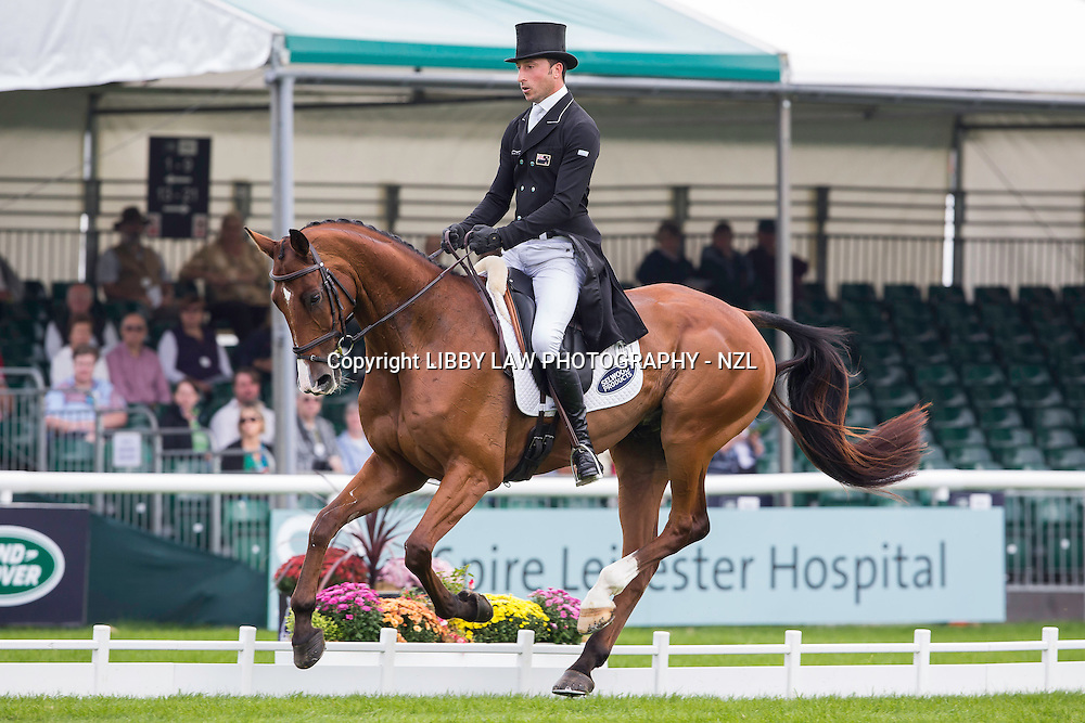 NZL-Tim Price (RINGWOOD SKY BOY) INTERIM-34TH: SECOND DAY OF DRESSAGE: 2014 GBR-Land Rover Burghley Horse Trial (Friday 5 September) CREDIT: Libby Law COPYRIGHT: LIBBY LAW PHOTOGRAPHY - NZL