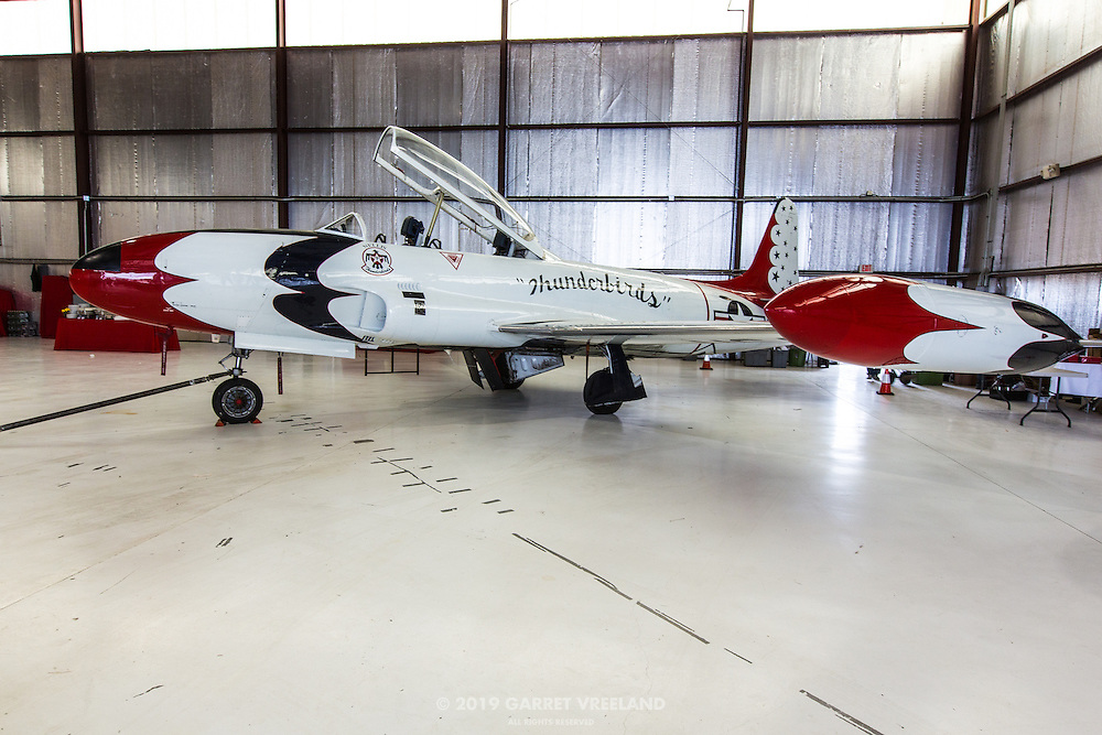 The Lockheed T-33 'Shooting Star' was parked in the corner of the dinner venue.