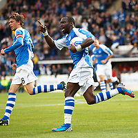 St Johnstone v Eskisehirspor...26.07.12  Europa League Qualifyer<br /> Gregory Tade celebrates<br /> Picture by Graeme Hart.<br /> Copyright Perthshire Picture Agency<br /> Tel: 01738 623350  Mobile: 07990 594431