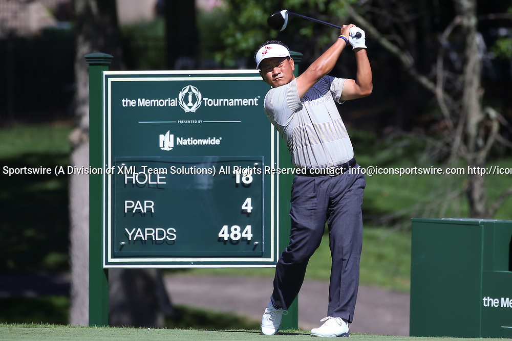 DUBLIN, OH - JUNE 02: K. J. Choi of Korea hits a drive on the 18th hole during the second round of The Memorial Tournament on June 2nd 2017, at the Muirfield Village Golf Club in Dublin, OH. (Photo by Ian Johnson/Icon Sportswire)