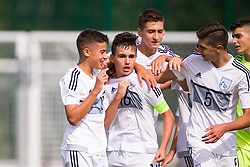 WREXHAM, WALES - Thursday, August 15, 2019: Cyprus' captain Michael Chiromerides celebrates scoring the first goal during the UEFA Under-15's Development Tournament match between Cyprus and Malta at Colliers Park. (Pic by Paul Greenwood/Propaganda) Panagiotis Karagiorgis, Andreas Christou, Andreas Ioannou