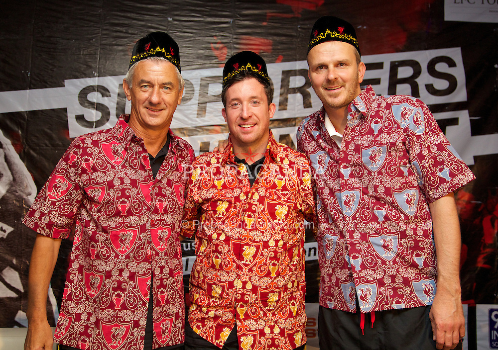 JAKARTA, INDONESIA - Thursday, July 18, 2013: Liverpool ambassadors Ian Rush, Robbie Fowler and Dietmar Hamann pose in Batik-style Indonesian shirts at a fans' event at the FX Senayan Centre ahead of Liverpool FC's visit to Indonesia as part of their Preseason Tour. (Pic by David Rawcliffe/Propaganda)
