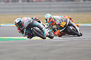 #17 John MCPHEE	GBR Petronas Sprinta Racing Honda leads #16 Andrea MIGNO ITA Bester Capital Dubai KTM and #48 Lorenzo DALLA PORTA	ITA Leopard Racing Honda in Moto3 during racing on the Bugatti Circuit at Le Mans, Le Mans, France on 19 May 2019.