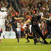08 October 2016: The San Diego State Aztecs football team open's up the mountain west conference season at home against the University of Nevada Las Vegas Lobos. San Diego State kicker John Baron (29) kicks a 50 yard field goal in the second half to give the Aztecs a 13-7 lead at halftime. www.sdsuaztecphotos.com
