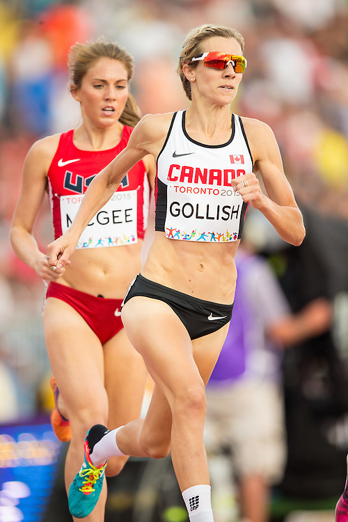 Sasha Gollish of Canada competes in the women's 1500 metres at the 2015 Pan American Games at CIBC Athletics Stadium in Toronto, Canada, July 25,  2015.  AFP PHOTO/GEOFF ROBINS