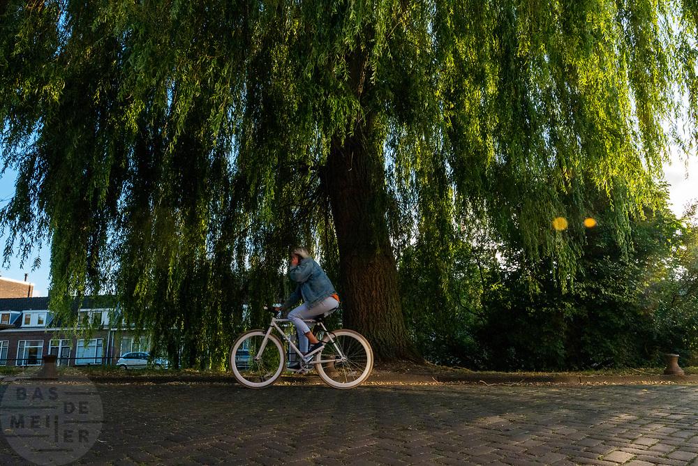 Een fietser rijdt al bellend door Utrecht.<br /> <br /> A cyclists rides while phoning in Utrecht.