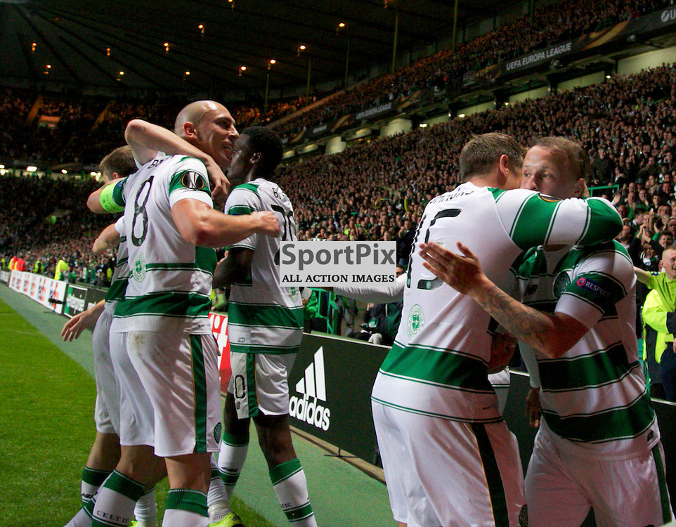 CelticÕs Leigh Griffiths celebrates after  opening the scoring during the Glasgow Celtic FC v Fenerbahe S.K Europa League Group A 1st October 2015 ©Edward Linton | SportPix.org.uk
