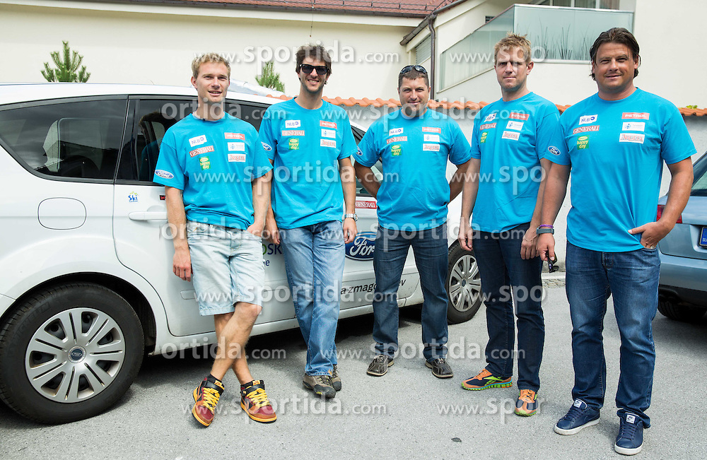 Coaches Matija Grasic, Andrej Jerman, Mitja Kunc, Klemen Bergant, Peter Pen at departure of Slovenian Men Ski Team to training camp in Argentina and Chile on August 21, 2014 in SZS, Ljubljana, Slovenia. Photo by Vid Ponikvar / Sportida.com