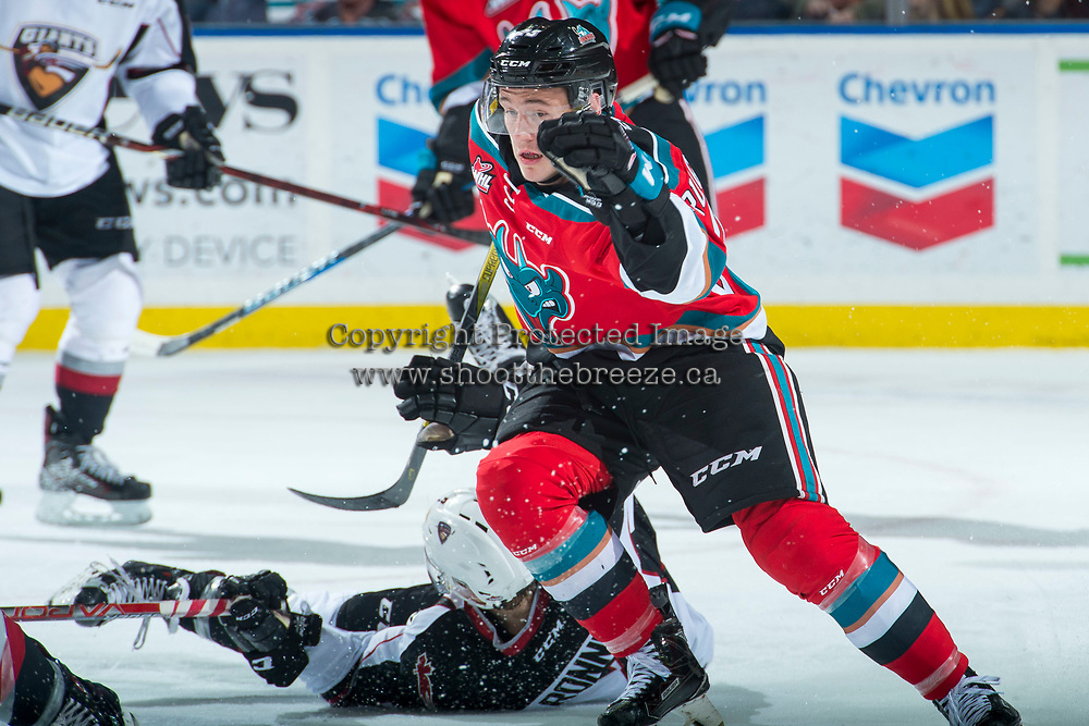 KELOWNA, CANADA - NOVEMBER 10: Conner Bruggen-Cate #20 of the Kelowna Rockets skates against the Vancouver Giants on November 10, 2017 at Prospera Place in Kelowna, British Columbia, Canada.  (Photo by Marissa Baecker/Shoot the Breeze)  *** Local Caption ***