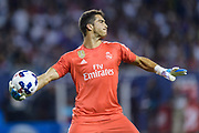 CHICAGO, IL - AUGUST 02: Real Madrid goalkeeper Ruben Yanez (25) throws a ball in the second half during a soccer match between the MLS All-Stars and Real Madrid on August 02, 2017, at Soldier Field in Chicago, IL. The game ended in a 1-1 tie with Real Madrid winning on penalty kicks 4-2. (Photo By Daniel Bartel/Icon Sportswire)