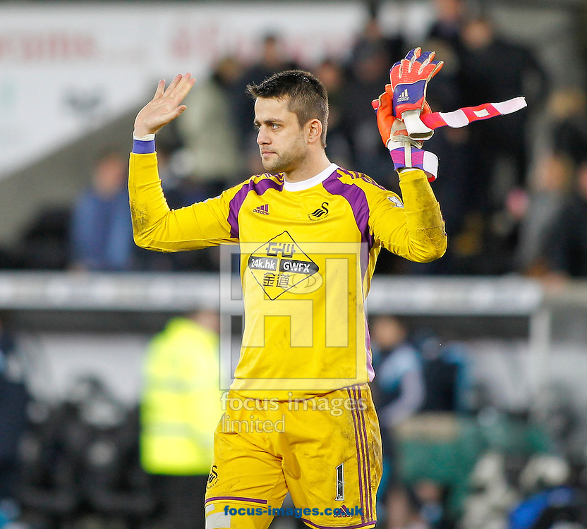 Lukasz Fabianski apologises to the Swansea City fans after the Barclays Premier League match at the Liberty Stadium, Swansea<br /> Picture by Mike Griffiths/Focus Images Ltd +44 7766 223933<br /> 17/01/2015
