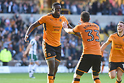 Wolverhampton Wanderers midfielder Alfred N'Diaye (4) scores a goal 2-1 and celebrates during the EFL Sky Bet Championship match between Wolverhampton Wanderers and Barnsley at Molineux, Wolverhampton, England on 23 September 2017. Photo by Alan Franklin.