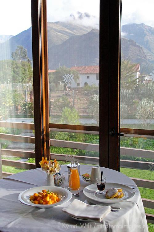 South America, Peru, Urubamba. Room Service Breakfast at Tambo del Inka Resort & Spa in the Sacred Valley.