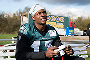 Philadelphia Eagles Alshon Jeffery WR (17) during the press, training and media day for Philadephia Eagles at London Irish Training Ground, Hazelwood Centre, United Kingdom on 26 October 2018. Picture by Jason Brown.