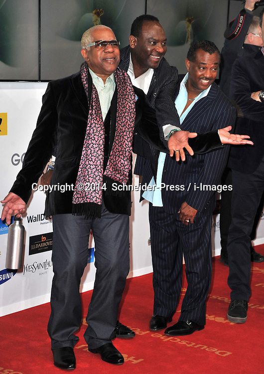 """(L-R) Robert """"Kool"""" Bell, George Brown and Ronald Bell (Kool & The Gang) attend the Goldene Kamera 2014 at Tempelhof Airport Hangar 7, Berlin, Germany, Saturday, 1st February 2014. Picture by  Schneider-Press / i-Images<br /> UK & USA ONLY"""
