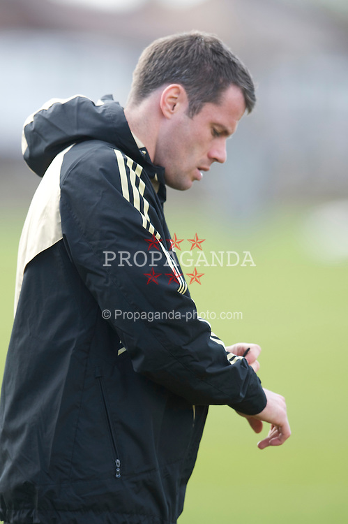 LIVERPOOL, ENGLAND - Tuesday, April 7, 2009: Liverpool's Jamie Carragher training at Melwood ahead of the UEFA Champions League First Quarter Final 1st Leg against Chelsea. (Photo by David Rawcliffe/Propaganda)