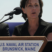 BRUNSWICK, Maine -- May 31, 2011-- Jackalyne Pfannenstiel, Assistant Secretary of the Navy for Energy, Installations and Environment, delivers remarks at the disestablishment ceremony of Naval Air Station Brunswick Maine on Tuesday. NAS Brunswick, opened in 1943 as a training area for British pilots and home to many squadrons of P-3 Sailors, disestablished today in a ceremony at the command building. (U.S. Navy Photo by Chief Mass Communication Specialist Roger S. Duncan / Released)