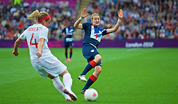 COVENTRY, ENGLAND - Friday, August 3, 2012: Great Britain's Ellen White during the Women's Football Quarter-Final match between Great Britain and Canada, on Day 7 of the London 2012 Olympic Games at the Rioch Arena. Canada won 2-0. (Photo by David Rawcliffe/Propaganda)