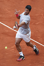 May 8, 2019 - Madrid, Spain - Fernando Verdasco of Spain in action against Karen Khachanov of Russia during day five of the Mutua Madrid Open at La Caja Magica on May 08, 2019 in Madrid, Spain. (Credit Image: © Oscar Gonzalez/NurPhoto via ZUMA Press)