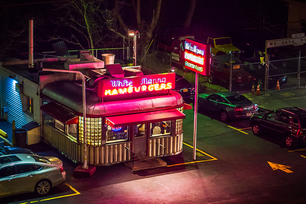 Night time aerial photo of the front of White Manna Hamburgers in Hackensack, NJ