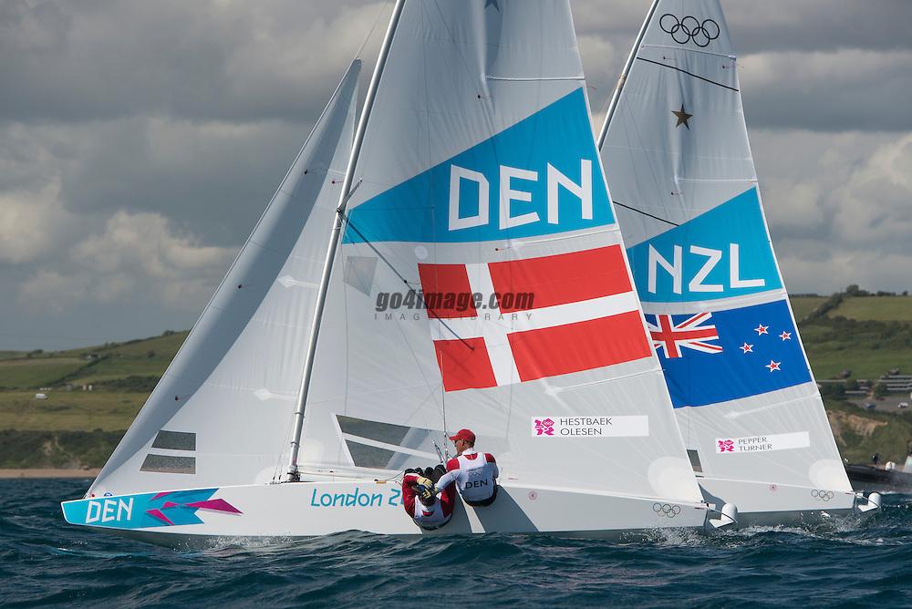 2012 Olympic Games London / Weymouth<br /> <br /> Star practice race<br /> StarDENHESTBAEK Michael, Olesen Claus<br /> StarNZLPepper Hamish, Turner Jim
