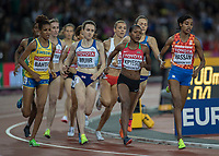 Athletics - 2017 IAAF London World Athletics Championships - Day Three, Evening Session<br /> <br /> Womens 1500m Final<br /> <br /> The field round the bend on the final lap at the London Stadium<br /> <br /> COLORSPORT/DANIEL BEARHAM
