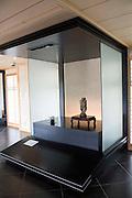 Photo shows one of the suiseki stones on display at the Saitama Omiya Bonsai Museum of Art in Saitama, Japan on 15 Aug. 2011..Photographer: Robert Gilhooly