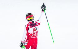 "29.01.2019, Planai, Schladming, AUT, FIS Weltcup Ski Alpin, Slalom, Herren, 2. Lauf, im Bild Marcel Hirscher (AUT) // Marcel Hirscher of Austria reacts after his 2nd run of men's Slalom ""the Nightrace"" of FIS ski alpine world cup at the Planai in Schladming, Austria on 2019/01/29. EXPA Pictures © 2019, PhotoCredit: EXPA/ JFK"