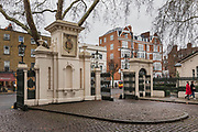 "London, England, UK, February 4 2018 - Kensington Palace Gardens, also called ""billionaire's row"" is the most expensive address in Britain, with a average price for a mansion of £35. million."