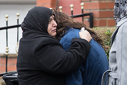 © Licensed to London News Pictures. 03/01/2017. Huddersfield, UK. People outside the home of 27-year-old Mohammed Yassar Yaqub , reported to be the man killed by police at the slip road at Junction 24 of the M62 motorway in Huddersfield . West Yorkshire police have announced a man has died following the discharge of a police firearm , during what they describe as a pre-planned operation , yesterday evening (2nd January 2017) . Photo credit : Joel Goodman/LNP