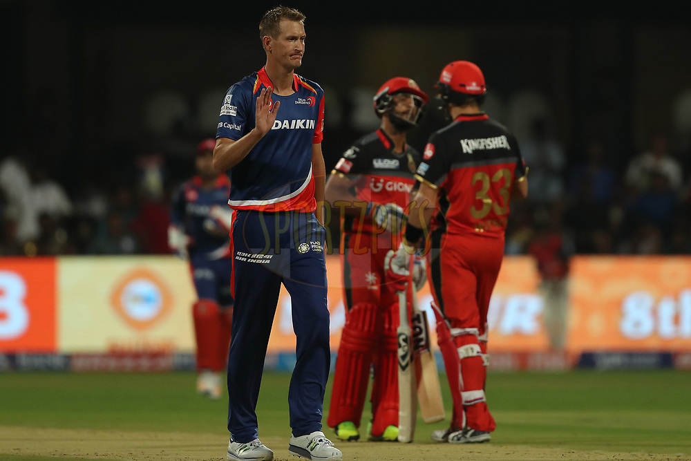 Chris Morris of the Delhi Daredevils is annoyed with himself after a delivery during match 5 of the Vivo 2017 Indian Premier League between the Royal Challengers Bangalore and the Delhi Daredevils held at the M.Chinnaswamy Stadium in Bangalore, India on the 8th April 2017<br /> <br /> Photo by Ron Gaunt - IPL - Sportzpics
