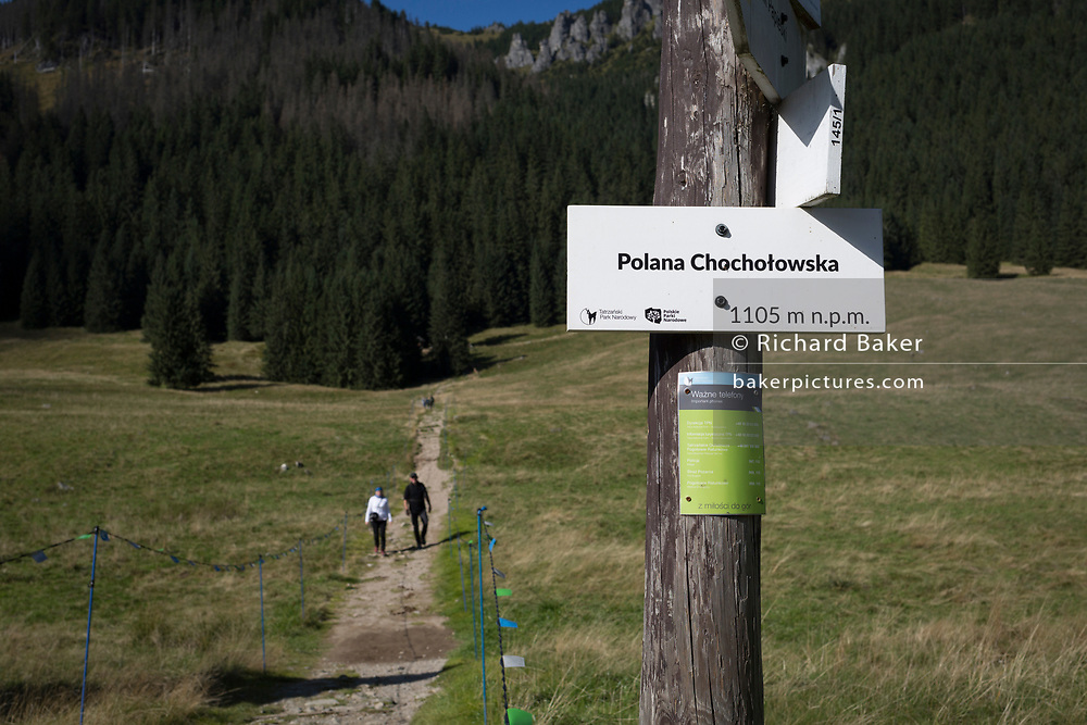 Two walkers make their way down a mountain footpath in  Polana Chocholowska, a hiking route in the Polish Tatra mountains, on 17th September 2019, near Zakopane, Malopolska, Poland.