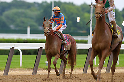 June 9, 2018 - Hempstead, NY, U.S. - HEMPSTEAD, NY - JUNE 09:  Vino Rosso ridden by Jockey John Velazquez. after the 150th Belmont Stakes on June 9, 2018 at Belmont Park in Hempstead, NY.    (Photo by Rich Graessle/Icon Sportswire) (Credit Image: © Rich Graessle/Icon SMI via ZUMA Press)