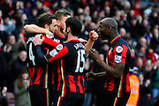 AFC Bournemouth midfielder Dan Gosling celebrates after scoring the opening goal with his team mates during the Barclays Premier League match between Bournemouth and Norwich City at the Goldsands Stadium, Bournemouth, England on 16 January 2016. Photo by Graham Hunt.