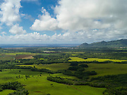 Aerial view of Kauai, Hawaii on a cloudy day.