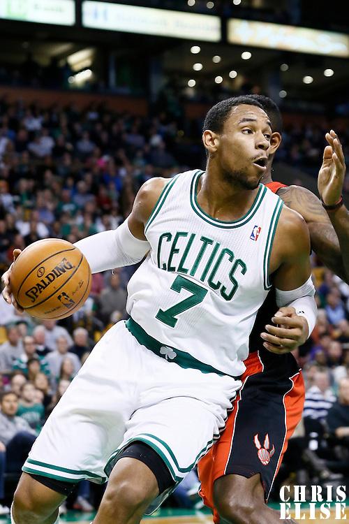 17 November 2012: Boston Celtics power forward Jared Sullinger (7) dribbles along the baseline during the Boston Celtics 107-89 victory over the Toronto Raptors at the TD Garden, Boston, Massachusetts, USA.