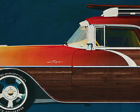 ;The Pontiac Safari Station Wagon Surfer Edition 1956 is an outsider among classic cars. This detail painting is best shown in an interior that reflects adventure and love for the sea –<br />
