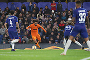 Amr Warda of PAOK FC (74) taking on Ethan Amoadu of Chelsea (44) during the Champions League group stage match between Chelsea and PAOK Salonica at Stamford Bridge, London, England on 29 November 2018.