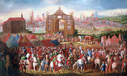Triumphal Entry of Alessandro Farnese into Brussels', oil on canvas. Beranabe Polo (1560-1600) Spanish painter. Farnese (1545-1592) Duke of Parma, Governor of Spanish Netherlands 1578-1592. Triumphal Arch Tent Horsemen