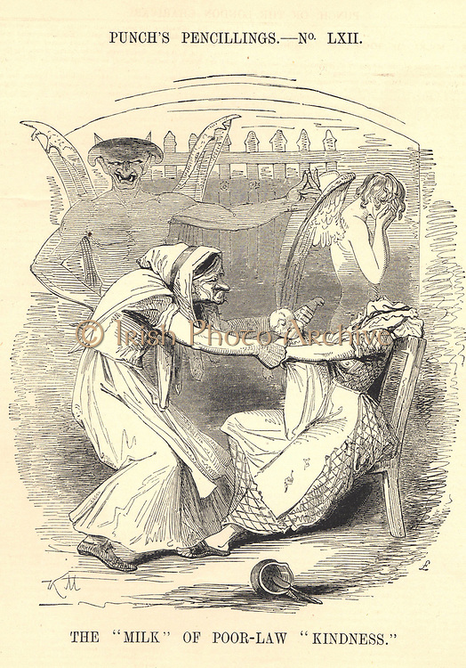 Poor Law set out regulations for Workhouses, imposing harsh conditions on inmates so that they were seen as places of last resort. The Devil  watches as a child is dragged from its mother', while an Angel covers its face unable to meet the mother's pleading eyes.  Cartoon from 'Punch', London, 1843.