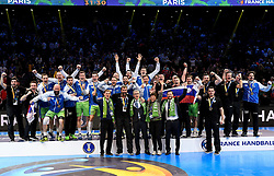 Slovenian team with Miro Cerar, prime minister of Slovenia, Veselin Vujovic, coach of Slovenia, Franjo Bobinac, president of RZS, Maja Makovec Brencic, minister of sport and education of Slovenia celebrate after their victory  after 25th IHF men's world championship 2017 match between Croatia and Slovenia at Accord hotel Arena on january 28 2017 in Paris. France. PHOTO: CHRISTOPHE SAIDI / SIPA / Sportida